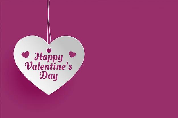 Hangend hart voor gelukkige valentijnsdag wenskaart