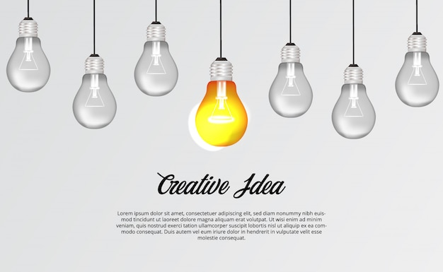 Hangende 3d-lamp voor brainstorming creatief idee oplossing illustratie concept