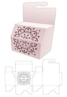 Hangende afgeschuinde doos met gestencilde mandala gestanste sjabloon