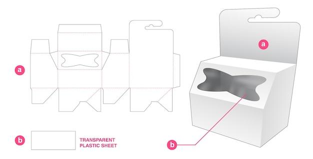 Hangende afgeschuinde doos met kruisvormig gestanst sjabloon voor vensters