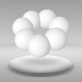 Hangende bal gemaakt van veel kleinere polygonen in de grote lege ruimte. de tentoonstellingsruimte is het abstracte object met een bolvorm.