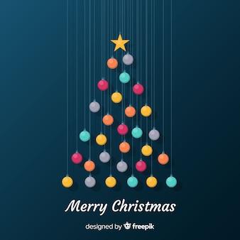 Hangende ballen kerstboom achtergrond