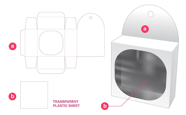 Hangende blikken doos en rond rechthoekig venster met doorzichtige gestanste sjabloon van plastic vel
