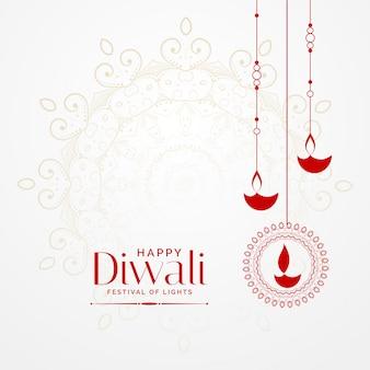 Hangende diwali diya mooie festival achtergrond