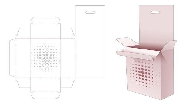 Hangende doos met gesjabloneerde halftoonstippen gestanst sjabloon