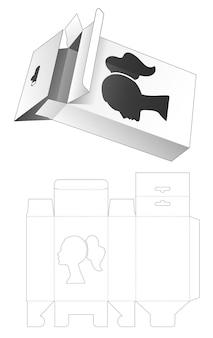 Hangende doos met gestanst sjabloon in de vorm van een raam in de vorm van een vrouw