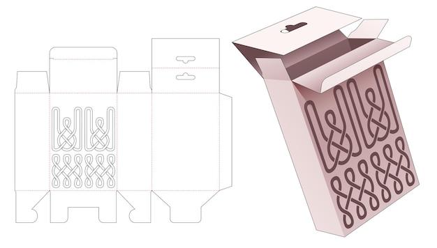 Hangende doos met gestencilde gestanste lijnsjabloon