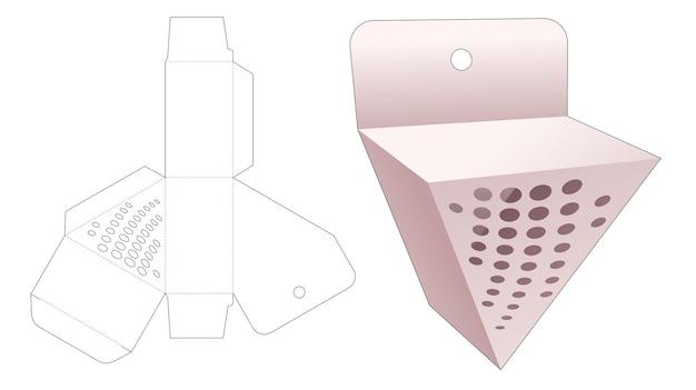 Hangende driehoekige geschenkdoos met gestencilde halftoonstippen gestanst sjabloon