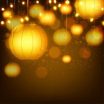 Hangende gouden lampen versierde achtergrond.
