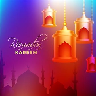 Hangende gouden lantaarns en moskeesilhouet op glanzende achtergrond