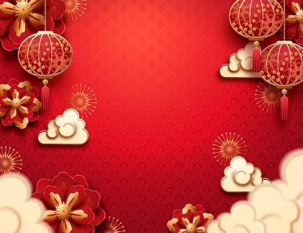Hangende lantaarn en wolken in papierkunst op rode achtergrond