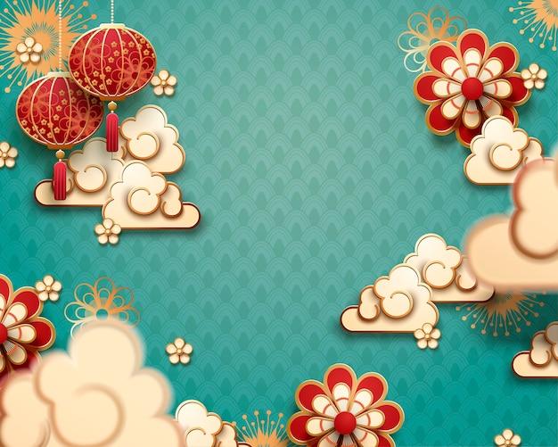 Hangende lantaarn en wolken in papierkunst op turkooizen achtergrond