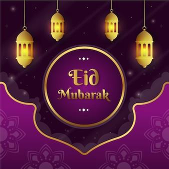 Hangende lantaarns in de nacht plat ontwerp eid mubarak