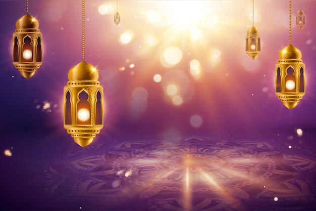 Hangende lantaarns op paarse bokeh arabesque achtergrond