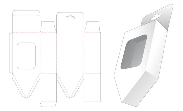 Hangende onderste afgeschuinde doos met sjabloon voor gestanst venster Premium Vector