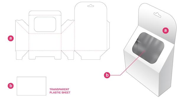 Hangende schuine doos en venster met gestanste sjabloon van transparant plastic vel