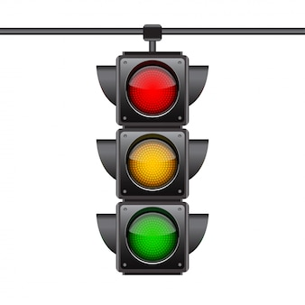 Hangende verkeerslichten met alle drie de kleuren aan