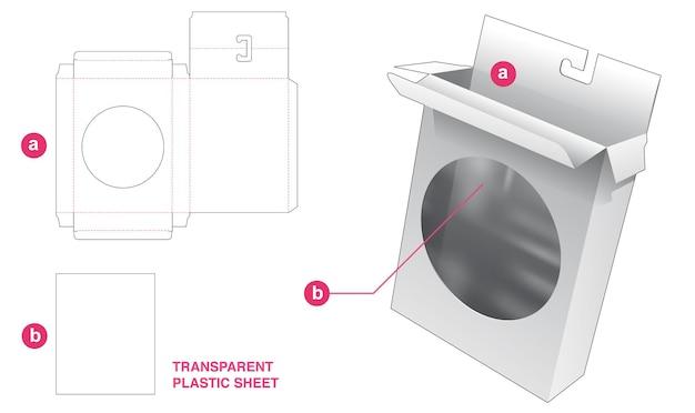 Hangende verpakking en rond venster met gestanste sjabloon van transparant plastic vel