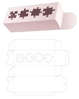 Hangende verpakking met gesjabloneerde 4 puzzelstukjes vormige gestanste sjabloon