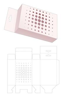 Hangende verpakkingsdoos met gesjabloneerde halftoonstippen gestanst sjabloon
