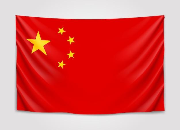 Hangende vlag van china. volksrepubliek china. nationale vlag