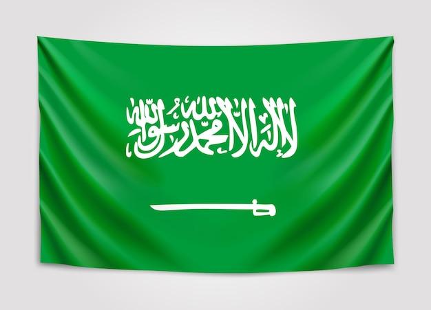 Hangende vlag van saoedi-arabië. koninkrijk van saudi arabië. nationale vlag.