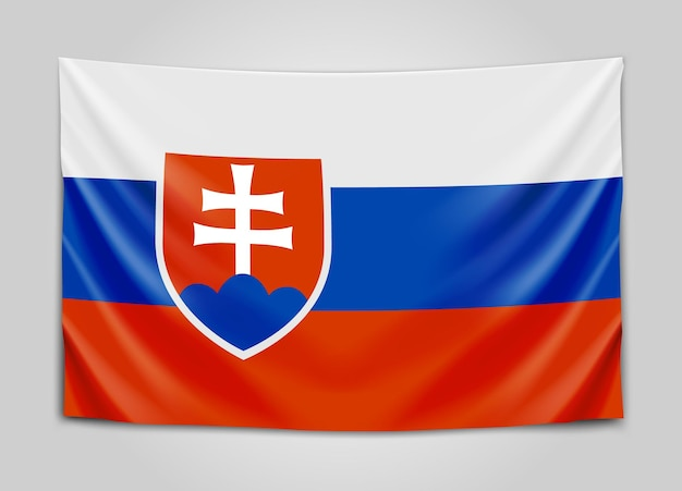 Hangende vlag van slowakije. slowakije. nationale vlag.