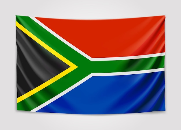 Hangende vlag van zuid-afrika. zuid-afrikaanse republiek. rsa nationale vlag.