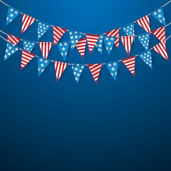 Hanging bunting flags voor amerikaanse feestdagen