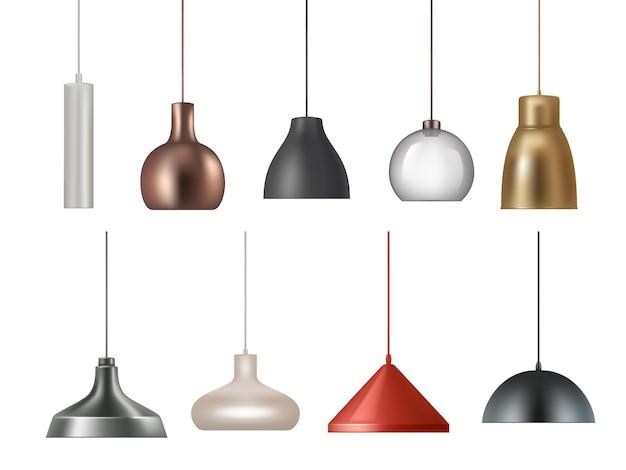 Hanglamp. realistische elektriciteitslamp felle verlichting interieur decoratie vector illustraties set. heldere elektriciteit licht interieur, lamp verlichting decoratie;