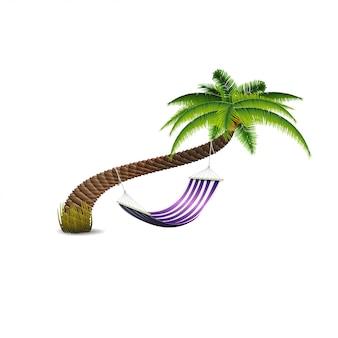 Hangmat onder palmboom geïsoleerd
