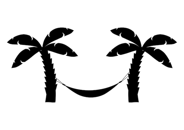 Hangmatpictogram in zwarte kleur hangmat tussen palmbomen glyph-pictogram ontspant palmbomen op het strand
