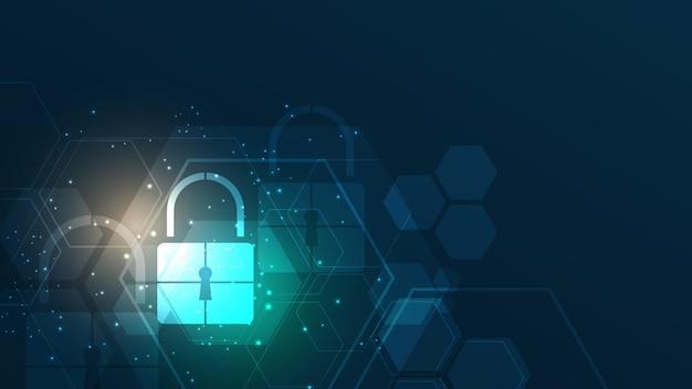Hangslot cyber digitaal beveiligingsconcept abstracte technische achtergrond beschermt het systeem