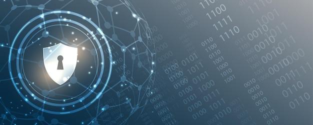 Hangslot cyber digitaal beveiligingsconcept abstracte technische achtergrond beschermt systeem