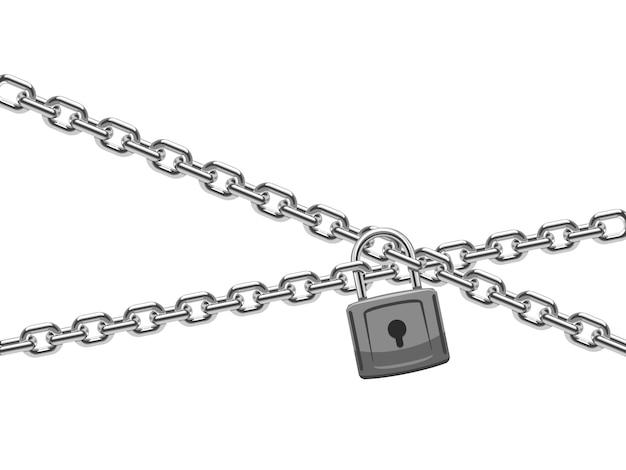 Hangslot en stalen ketting. financiënveiligheid en computerveiligheids vectorconcept