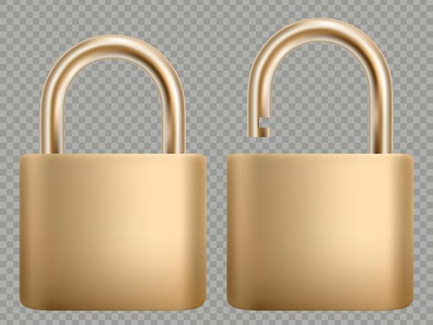 Hangslot icon set. stalen en gouden slot voor privacybescherming