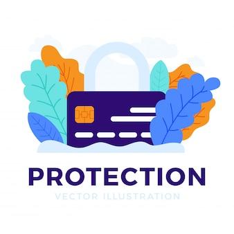 Hangslot met creditcard geïsoleerd het concept van bescherming, beveiliging, betrouwbaarheid van een bankrekening.