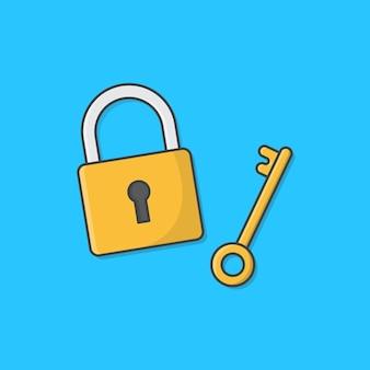 Hangslot met sleutel illustratie. gesloten hangslot