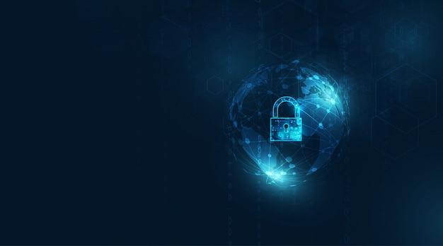 Hangslot met sleutelgatpictogram in beveiliging van persoonlijke gegevens illustreert cybergegevens of informatieprivacy. blauwe kleur abstracte hoge snelheid internettechnologie.