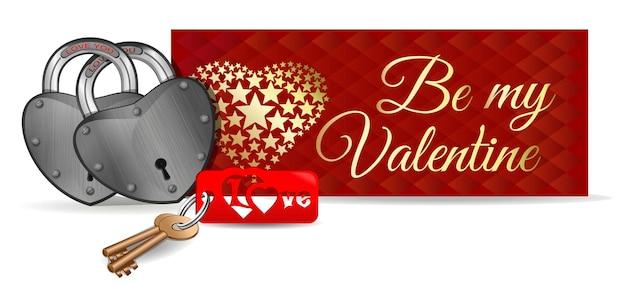 Hangsloten op de achtergrond van een groet. paar sloten, sleutels en sleutelring. wees mijn valentijn. hou van jou. sloten voor koppels. valentijnsdag