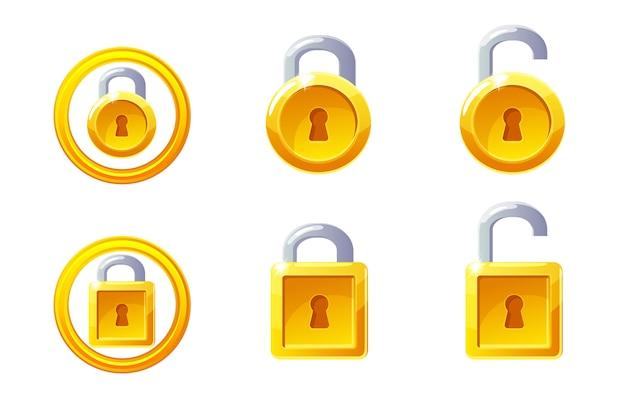Hangslotpictogram met vierkante en ronde vorm. gui golden level lock.