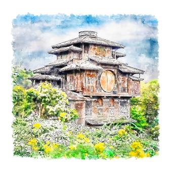 Hangzhou china aquarel hand getekende illustratie