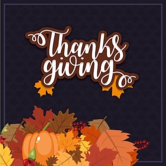 Hanksgiving poster kaart met pompoenen, bladeren en bessen
