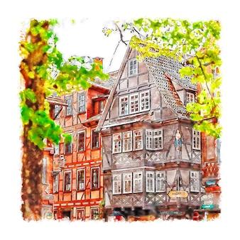 Hannoversch munden duitsland aquarel hand getekende illustratie