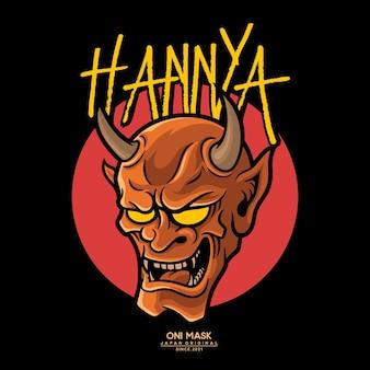 Hannya is een japans masker, dat een jaloerse vrouwelijke demon of slang voorstelt Premium Vector