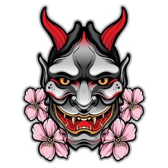 Hannya masker tattoo vector