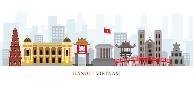 Hanoi vietnam skyline oriëntatiepunten Premium Vector