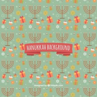Hanukkah achtergrond met kandelaars en geschenken