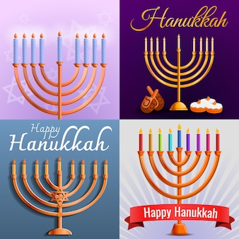 Hanukkah banner set, cartoon stijl