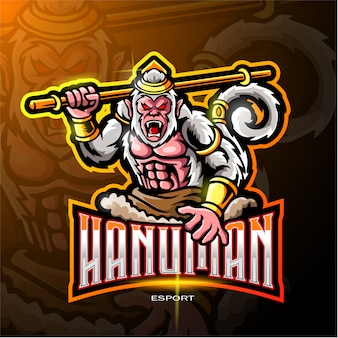 Hanuman mascotte logo voor elektronische sport gaming logo